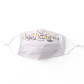 Oh Baby Shower Watercolor Floral Violet Rose Adult Cloth Face Mask