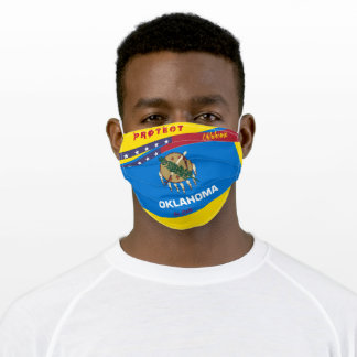 Oklahoma Flag w/ Stars Stripes  on Yellow Gold Adult Cloth Face Mask