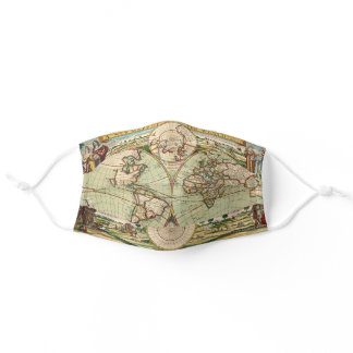 Old Antique Vintage General Map of the World Adult Cloth Face Mask
