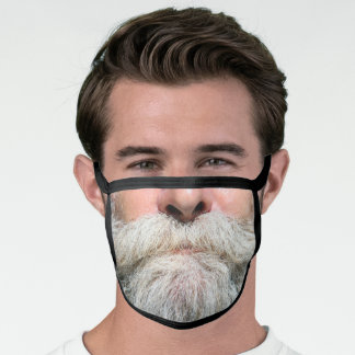 OLD GRAY BEARDED MAN FAKE FACE MASK