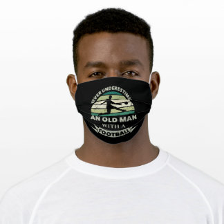 Old Man with a Football Funny Dad Gift Adult Cloth Face Mask