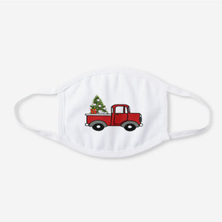 Old red truck hauling Christmas tree White Cotton Face Mask