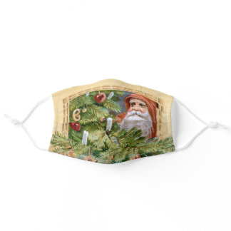 Old World Father Christmas and Decorated Tree Adult Cloth Face Mask