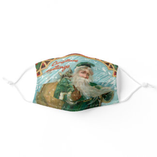Old World Father Christmas in Snow Adult Cloth Face Mask