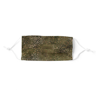 Olive Green Brown Leopard Print Adult Cloth Face Mask