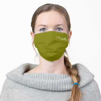Olive Green Custom Name Adult Cloth Face Mask