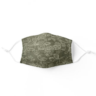 Olive Green Fabric with Foral Pattern Face Mask
