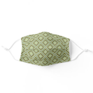 Olive Green Khaki Brown Gray Squares Art Pattern Adult Cloth Face Mask