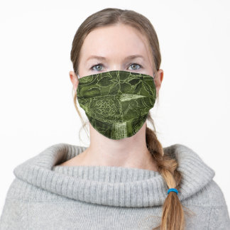 Olive Green Patchwork Fabric Texture Face Mask