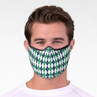 On the Green Argyle Premium Face Mask