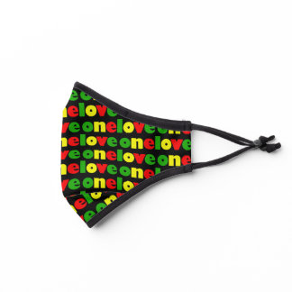 One Love Rasta Colors Typography Pattern Premium Face Mask