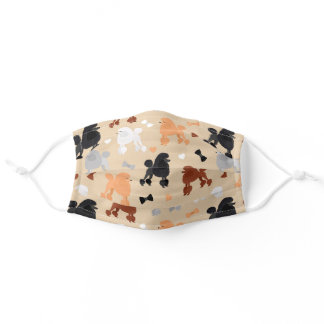 Oodles of Poodles and Bows Pattern Tan Adult Cloth Face Mask