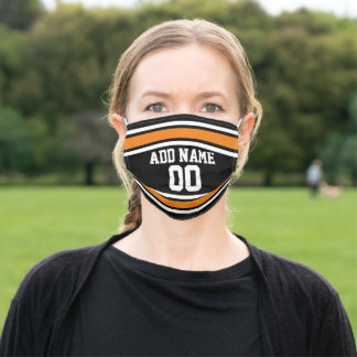 Orange and Black Sports Jersey Custom Name Number Adult Cloth Face Mask