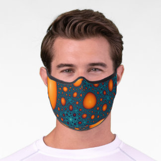 Orange and Blue Abstract Pattern. Premium Face Mask