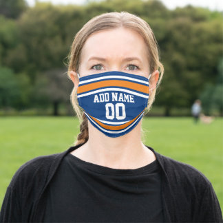 Orange and Blue Sports Jersey Custom Name Number Adult Cloth Face Mask