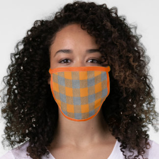 Orange and Gray Large Checks Face Mask