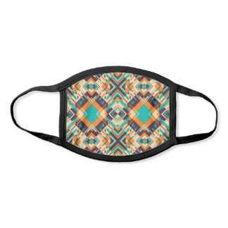 Orange and Teal Abstract Geometric Kaleidoscope Face Mask