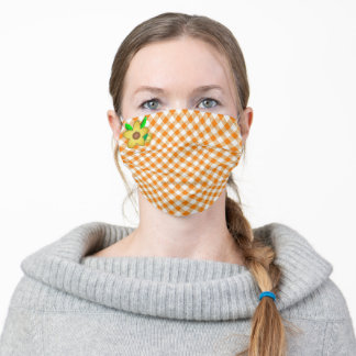 Orange and White Gingham With Yellow Flower Adult Cloth Face Mask