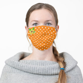 Orange and White Polka Dots With Yellow Flower Adult Cloth Face Mask