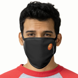 Orange Basketball Basic Black Solid Color add name Face Mask
