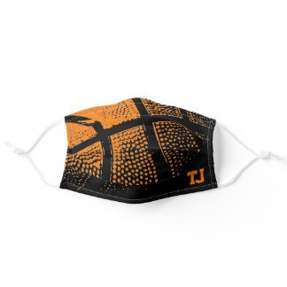 Orange basketball print custom monogram adult cloth face mask