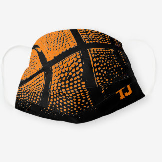 Orange basketball print custom monogram cloth face mask