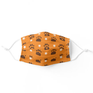 Orange & Brown Cute Paw Print Floral Pattern Adult Cloth Face Mask
