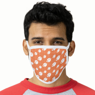 Orange Football Grid Patterned Face Mask