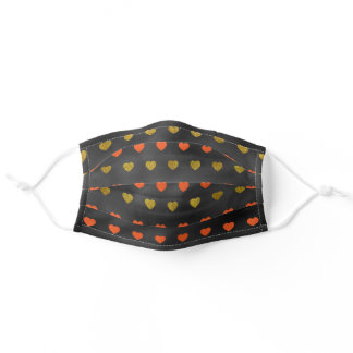 Orange Glittery Gold Hearts Black Adult Cloth Face Mask