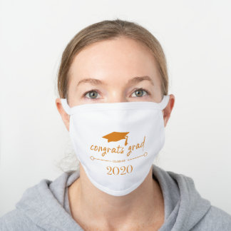 Orange Graduation Class of 2020 Congrats White Cotton Face Mask