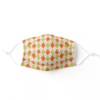 Orange, Green, and Light Pink Argyle pattern Adult Cloth Face Mask