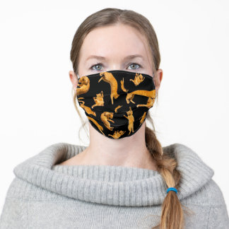 Orange Jumping Tabby Tiger Cats Pattern On Black Adult Cloth Face Mask