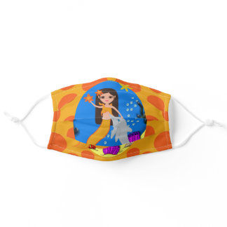 Orange Mermaid and Dolphin in the Ocean Adult Cloth Face Mask