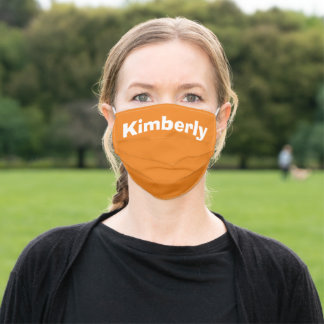 Orange Personalized Name Cloth Face Mask