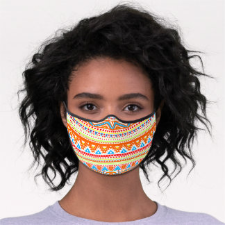 Orange Summer Azure Blue Zig Zag Aztec Art Stripes Premium Face Mask