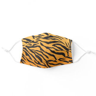 Orange Tiger Striped Pattern Animal Print Adult Cloth Face Mask