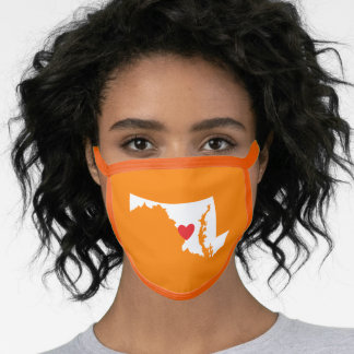 Orange White and Red Heart Maryland Love Face Mask