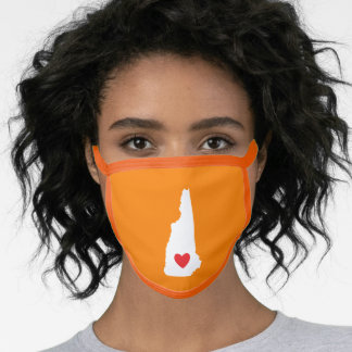 Orange White and Red Heart New Hampshire Love Face Mask