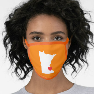 Orange White and Red Minnesota Love Face Mask