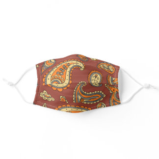 Orange Yellow and Brown Floral Paisley Pattern Adult Cloth Face Mask
