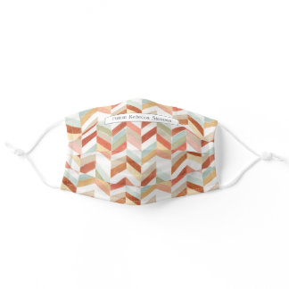Orange Yellow Brown Chevron Pattern Watercolor Adult Cloth Face Mask
