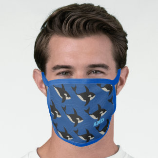 Orca Leather Look Beach Fish Pattern Monogram Face Mask