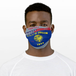 Oregon Flag w/ Stars Stripes on Cool Grey Adult Cloth Face Mask