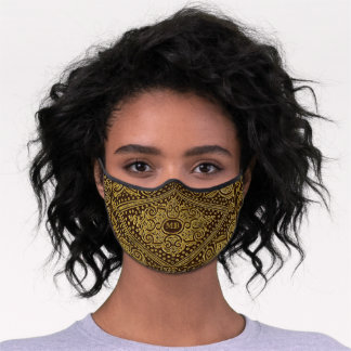 Ornamental Golden-brown w/out Initial(s) Premium Face Mask