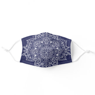 Ornate Floral Boho Henna Mandala Navy Blue Adult Cloth Face Mask
