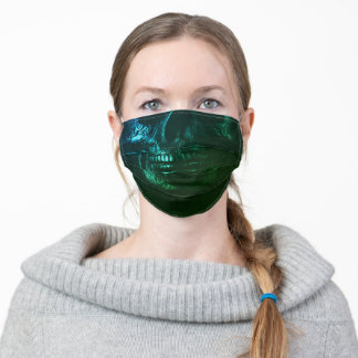 Ornate Green and Blue Skull Adult Cloth Face Mask