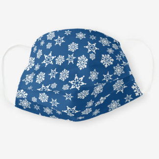 Ornate White Snowflake Pattern on Blue Cloth Face Mask