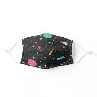 outer space element on black adult cloth face mask