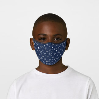 Outer Space, Planets, Rocket & Astronaut Navy Premium Face Mask