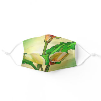 Outlined Calla Lilies Against A Green Ombre Adult Cloth Face Mask
